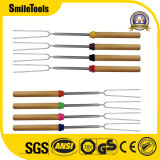 6 Premium Smore Extendable Stainless Steel BBQ Stick with Wooden Handle