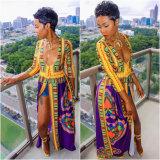 Women′s Sexy Deep V Neck High Slit African Ethnic Dashiki Long Maxi Dresses Clubwear