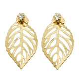 Gold-Tone Hollow out Leaf Custom Fashion Earrings for Woman & Lady
