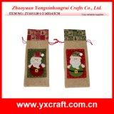 Christmas Decoration (ZY16Y138-1-2 34X14.5CM) Christmas Santa Claus Bag Wine Holder