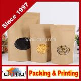 Food Grade Aluminum Foil Side Gusset Kraft Bag with Window (220080)