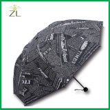 Anti-UV Foldable Women Printed Sun-Rain Gear Black Newsprint Competitive Price Logo Printed UV Resistant Mini Sun Umbrella