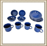 Camping Enamel Dinnerware 12PCS Set, Enamelware Set with Stainless Edge