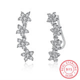 925 Sterlig Silver Flower Shape Zircon Earring Plant Design Jewelry