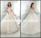 3/4 Sleeves Wedding Dress Round Bridal Ball Gown W13909