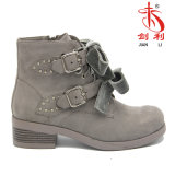 Women Metal Buckle Velvet Bowknot Flat Sole Work Martin Ankle Boots (AB638)