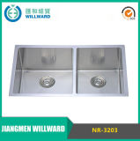 304 Square Nr-3203 Stainless Steel Handmade Double Bowl Undermount Kitchen Sink
