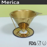 Stainless Steel Paperless Golden Pour Over Coffee Filter