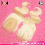 8/10/12/14/16/18/20 Inch Bleached Knots Silk Brazilian 613 Blonde Lace Closure