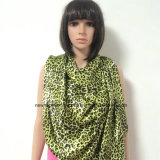 100% Polyester, Satin Material Multifunctional Scarf with Leopard Printing