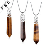 Fashion Brown Natural Crystal Quartz Drop Chakra Necklace