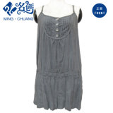 Army-Green Shoulder-Straps Button Sexy Pleated Fashion Ladies T Dress