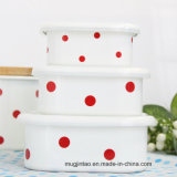 Enamel Tableware Enamel Pot Storage Tank Fresh -Keeping Box with Plastic Cover 3/4 in Set