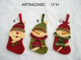 Santa Snowman Chritams Stocking Home Decoration, 3asst.