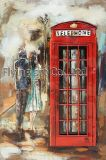 3D Metal Painting for Telephone Booth with Red Color
