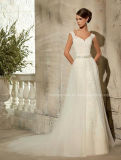 Luxurious Spaghetti Strap Lace Beading Wedding Bridal Dresses