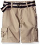 Fashion Boys′ Belted Tbrush Twill Cargo Short