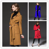 2017 High Quality Woolen Turn-Down Collar Lady Slim Coat with Belt