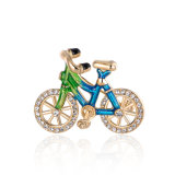 Enamel Bike Rose Gold Plating OEM Unique Alloy Brooch