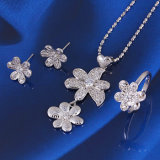 Hot Sale Silver Color Laser Flowers Jewelry Set (60747)
