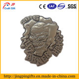 2016 Hot Sale Antique Plating Metal Souvenir Badge of Skull