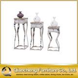 Man-Made Marble Stainless Steel Frame Flower Shelf