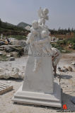 Marble Angels Monument with Cross for Cemetery and Church