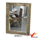 Large Wooden Framed Rough Antique Rectangular Wall Mirror