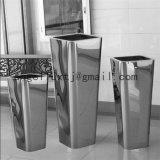 Square Shape Decoration Metal Flowerpot Mirror Surface for Park Garden