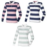 Wholesale Ladies Plain Striped Rugby Polo Shirt (A461)