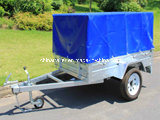 Galvanized Box Trailer with Cage and PVC Tarp
