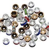 Cheap Handmade Rhinestone Loose Crystal Silver Plated Rondelle Spacer Beads