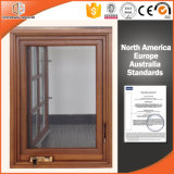 Seamless Welding Joints American Casement Window with Foldable Crank Handle Aluminum Clad Solid Oak Wood
