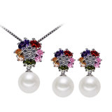 Colorful Round Flower Shape Silver Natural Freshwater Bridal Pearl Jewelry Set