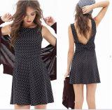 Deep V-Neck Fashion Black Back Bowknot Ladies Chiffon Dress