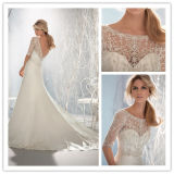 Elegant Wedding Gown A-Line Jewel/Scoop Chapel Train Shiny Beading Crystals 1/2 Sleeves Charmeuse Wedding Dress 2014