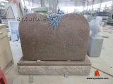 Pink Granite Flower Carving Headstone / Gravestone