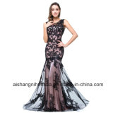 Women Black Lace Mermaid Sleeveless Sexy Evening Party Prom Dress