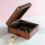 Metallic Leather Jewellery Box Square Jewelry Case