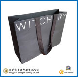 Black Paper Shopping Bag with Ribbon Handle (GJ-Bag002)