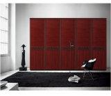 Wood Veneer Sliding Door Bedroom Wardrobe (ZH-5017)