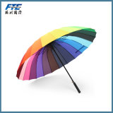 24 Bone Rainbow Super Umbrella Long Handle Double Windproof