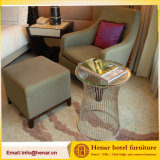 Classic Solid Wood Fabric Upholstered Lounge Chair with Ottoman
