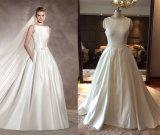 Embellished Neckline Satin Wedding Gown