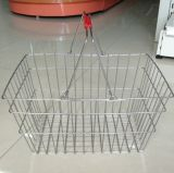 Chrome Wire Hand Shopping Basket for Supermarket