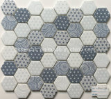 Newest Technology Full Body Hexagon Glass Mosaic Tile