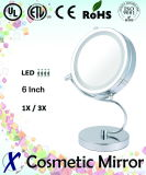 6 Inch Chrome LED Stand Magnifying Cosmetic Mirror (D627)
