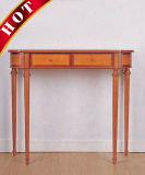 Natural Color Birch Solid Wooden Hallway Carved Console Table