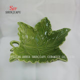 Leaf Shape, Ceramic Dinner Dish Green Celadon Jam Dish for Home