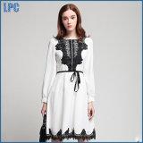 White Chiffon Stitching Lace Tunic Fashion Dress
